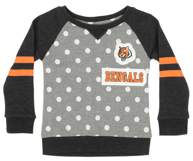 Outerstuff NFL Little Girls Cincinnati Bengals Logo Polka Dot Long Sleeve Crew