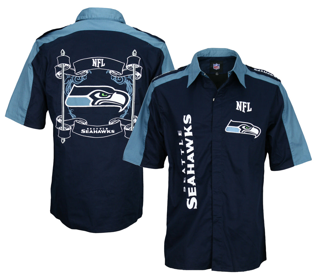 buy online 834b2 77430 Seattle Seahawks NFL Embroidered Men's Button Down Shirt, Navy
