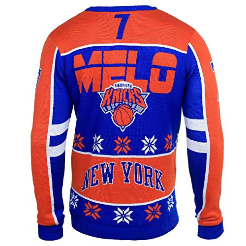 Klew NBA New York Knicks Men's Carmelo Anthony Ugly Sweater, Orange