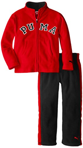 Puma Kids Boys Colorblock Polar Fleece Set - Jacket and Pants - Red and Gold