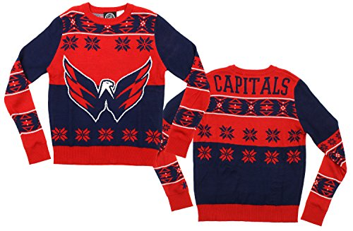 KLEW NHL Youth Washington Capitals Ugly Crew Neck Team Sweater