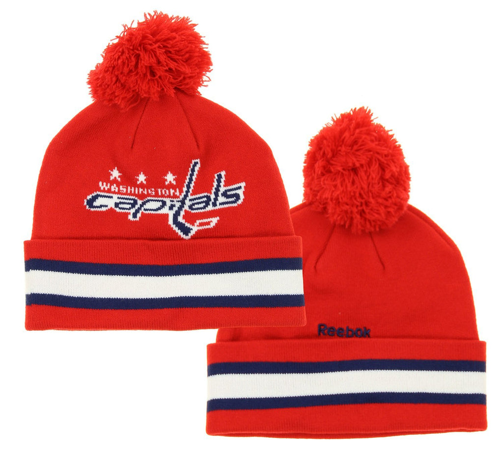 07fa0270d9d7d9 NHL Reebok Washington Capitals Youth Cuffed Knit Winter Hat With Pom, Red