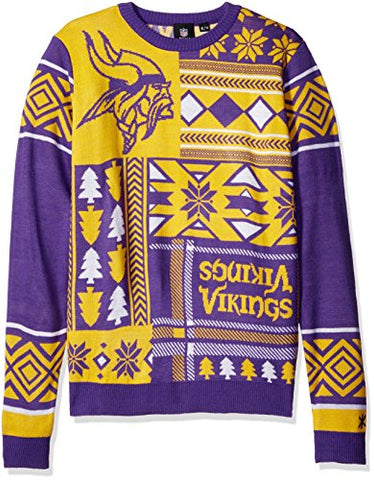 NFL Minnesota Vikings Patches Ugly Sweater, Purple, Large