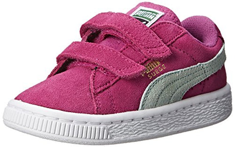 Puma Suede 2 Straps Toddler Kids Sneaker Shoes, Vivid Viola/Bay