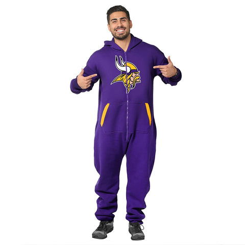 Forever Collectibles NFL Unisex Minnesota Vikings Logo Jumpsuit, Purple