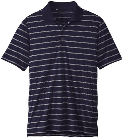 Adidas Golf Men's Classic 2 Color Stripe Polo Shirt, Navy/White, Small