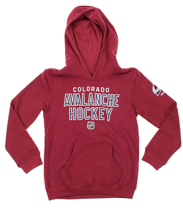 Reebok NHL Youth Colorado Avalanche Stitch Em Up Fleece Hoodie, Burgundy