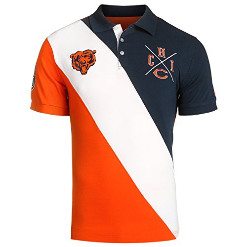 KLEW NFL Football Men's Chicago Bears Rugby Diagonal Stripe Polo Shirt