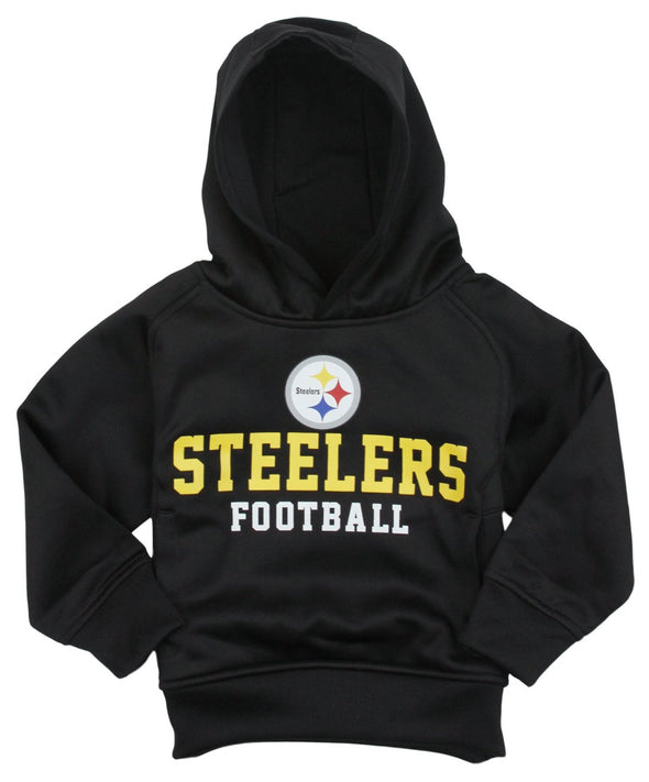 NFL Football Kids Pittsburgh Steelers Team Pullover Sweatshirt Hoodie, Black
