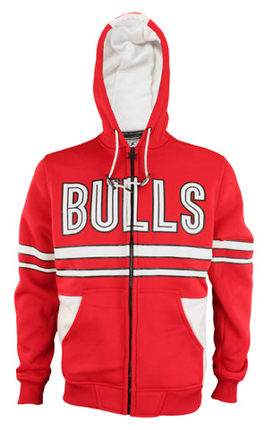 Zipway NBA Men's Chicago Bulls Bold Stripe Zip Up Hoodie, Red