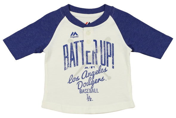 Outerstuff MLB Infant Girls Los Angeles Dodgers 3/4 Sleeve Henley Tee