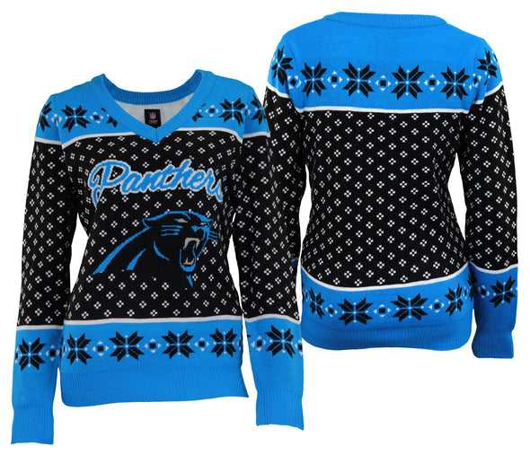 Forever Collectibles NFL Women's Carolina Panthers Big Logo V-Neck Sweater