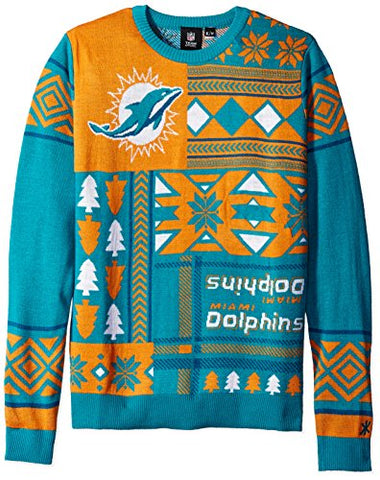Klew NFL Men's Miami Dolphins Patches Ugly Sweater, Green