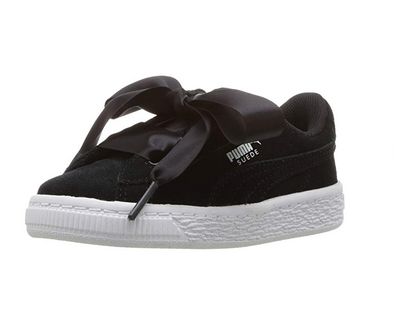 PUMA Kids' Suede Heart Sneakers, Black