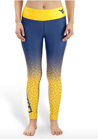 NCAA Women's West Virginia Mountaineers Gradient Print Leggings, Blue