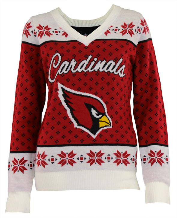 Forever Collectibles NFL Women's Arizona Cardinals Big Logo V-Neck Sweater