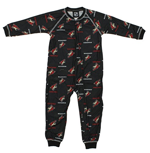 NHL Toddlers Phoenix Coyotes Full Zip Raglan Logo Print Coverall, Black