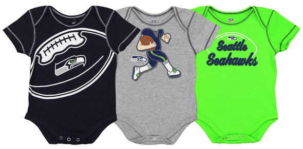 Outerstuff NFL Infant Seattle Seahawks 3 Pack Creeper Set