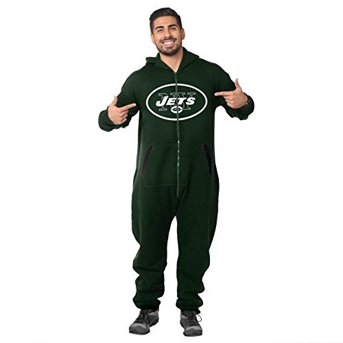 Forever Collectibles NFL Unisex New York Jets Logo Jumpsuit, Green