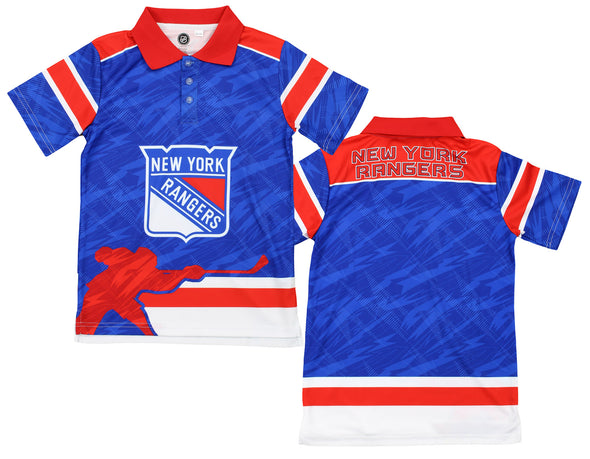 NHL Youth New York Rangers Performance Short Sleeve Polo Shirt