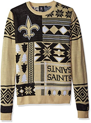 Klew NFL Men's New Orleans Saints Patches Ugly Sweater, Black