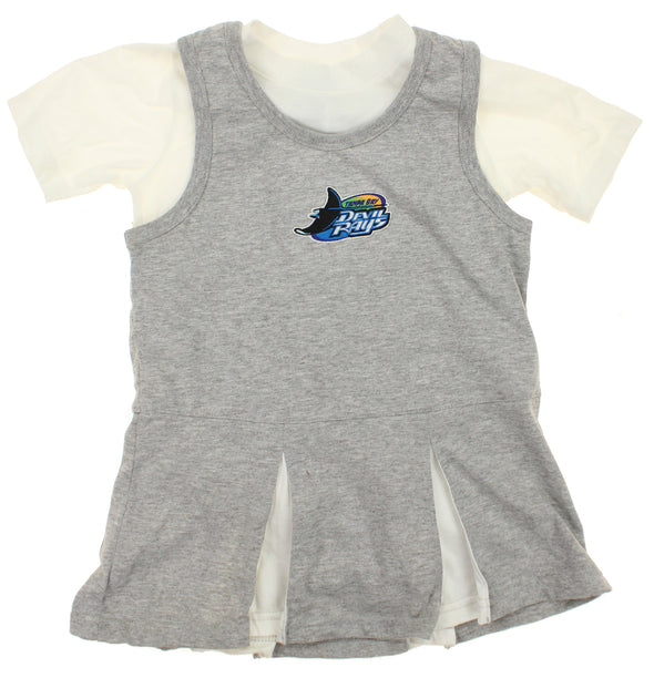 MLB Kids Tampa Bay Devil Rays Retro Cheer Dress & Creeper Set, Grey / White