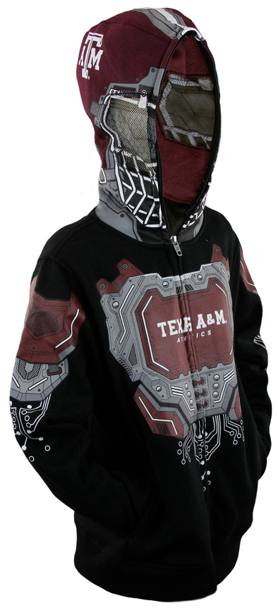 NCAA College Youth Boys Texas A&M Aggies Full Zip Masked Sweatshirt Hoodie, Black
