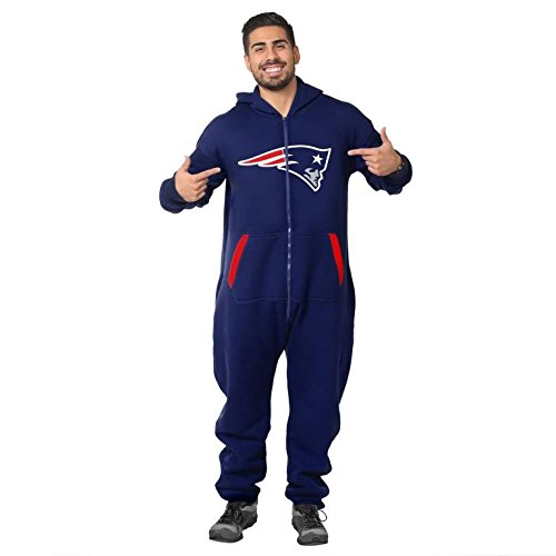 Forever Collectibles NFL Unisex New England Patriots Logo Jumpsuit, Navy
