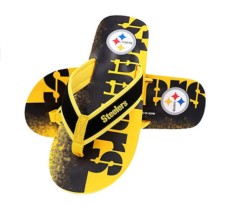 FOCO NFL Men's Pittsburgh Steelers Contour Fade Wordmark Thong Sandals