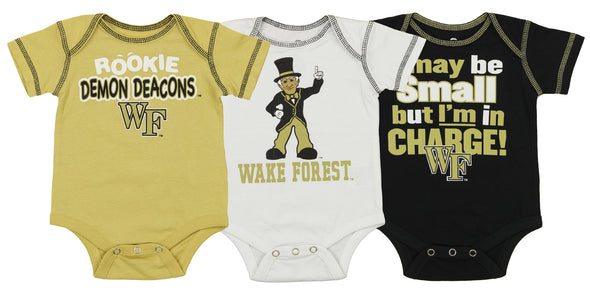 OuterStuff NCAA Infant Wake Forest Demon Deacons 3 Piece Bodysuit Set