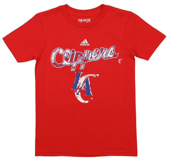 Adidas NBA Youth Los Angeles Clippers Dripple Graphics Go-To Tee, Red