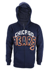 Chicago Bears NFL Football Men's In The Pocket Full Zip Fleece Hoodie, Navy