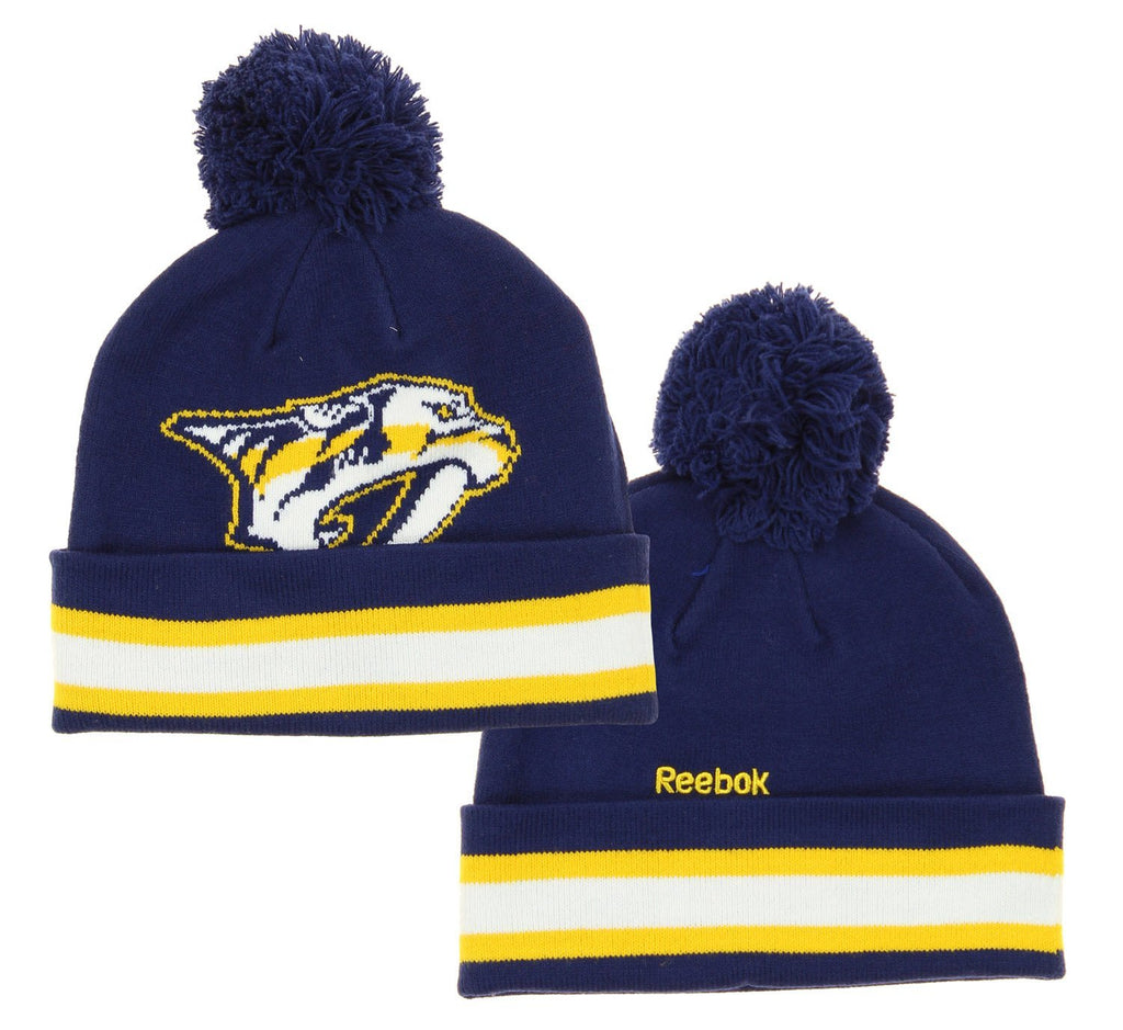 f625dbe1088 NHL Reebok Nashville Predators Youth Face Off Cuffed Knit Winter Hat With  Pom