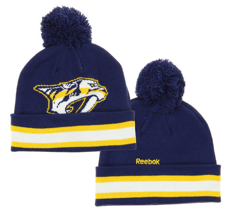 NHL Reebok Nashville Predators Youth Face Off Cuffed Knit Winter Hat With Pom, Navy