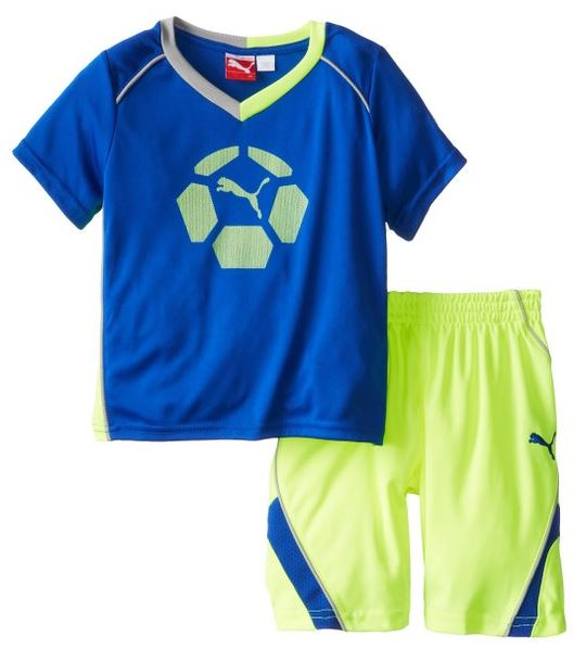 Puma Kids Soccer Team Perf Set - Jersey Shirt & Shorts - White & Blue