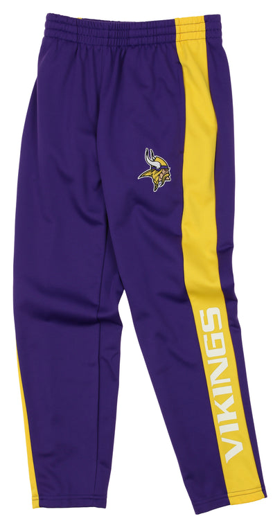 OuterStuff NFL Youth Boys Side Stripe Slim Fit Performance Pant, Minnesota Vikings