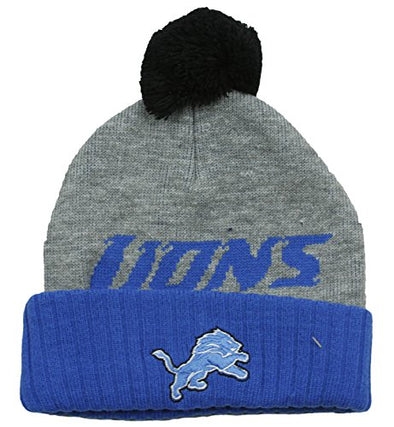 """Detroit Lions NFL Little Boys Basic Cuffless Pom Pom Knit Beanie, Grey/Blue"""