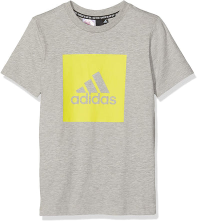 adidas Big Boys Youth (8-20) Must Have Badge of Sport Short Sleeve Tee, Medium Grey Heather/Shock Yellow