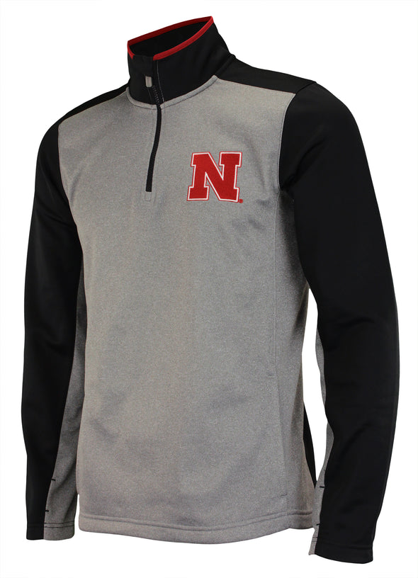 OuterStuff NCAA Men's Nebraska Cornhuskers Top Notch 1/4 Zip Jacket, Grey