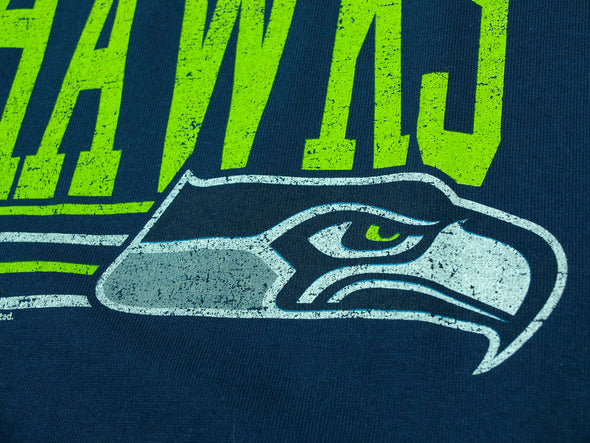 Seattle Seahawks NFL Football Men's Fundamentals Logo T-Shirt Top Tee, Navy