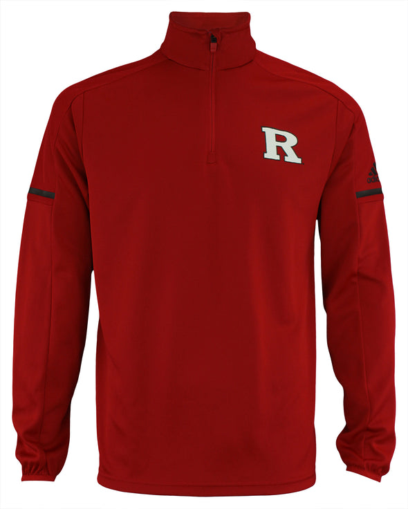 adidas NCAA Men's Rutgers Scarlet Knights Team Logo 1/4 Zip Pullover, Red