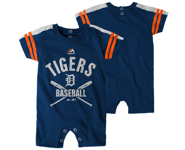 Outerstuff MLB Infants Detroit Tigers Classic Stripe Romper, Navy