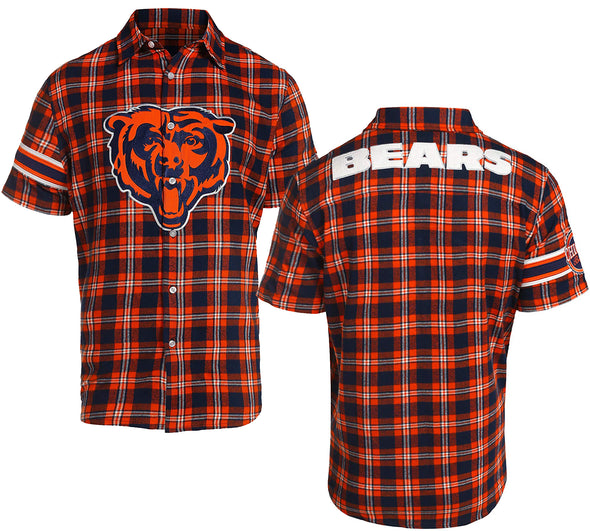 Forever Collectibles NFL Men's Chicago Bears Color Block Short Sleeve Flannel
