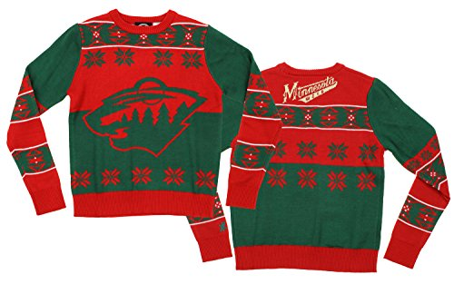 KLEW NHL Youth Minnesota Wild Ugly Crew Neck Team Sweater