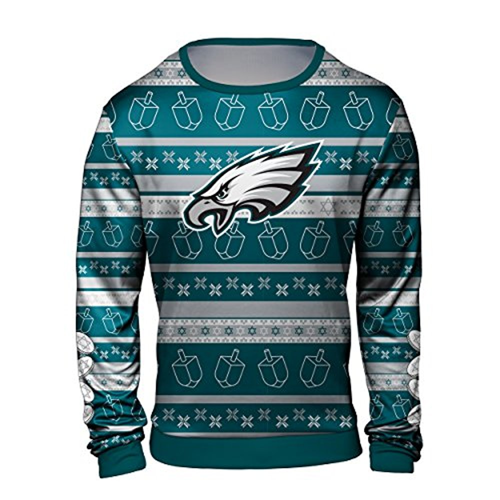 low priced cd2cb 711c3 Forever Collectibles NFL Men's Philadelphia Eagles Hanukkah Printed Ugly  Crew Neck Sweater