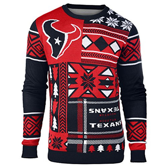 Klew NFL Men's Houston Texans Patches Ugly Sweater, Red