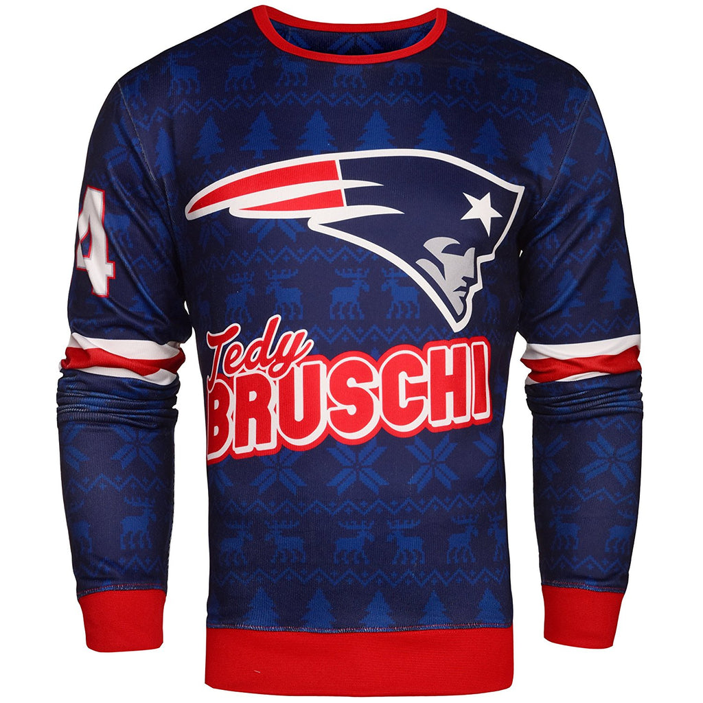 NFL Men's New England Patriots Tedy Bruschi #54 Retired Player Ugly Sweater
