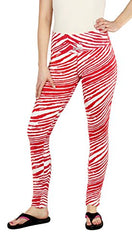 Zubaz NCAA Women's Wisconsin Badgers Team Color Tiger Print Leggings Pants