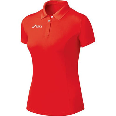 Asics Women's Team Athletic Golf Polo Shirt Top, Red