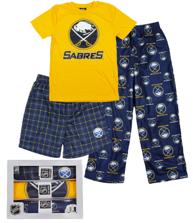 NHL Hockey Youth Buffalo Sabres 3-piece Boxed Pajama Set - Blue & Yellow